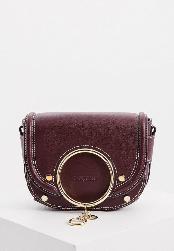 женская сумка через плечо see by chloe, фиолетовая