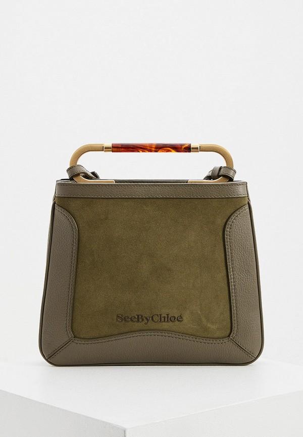 женская сумка с ручками see by chloe, хаки