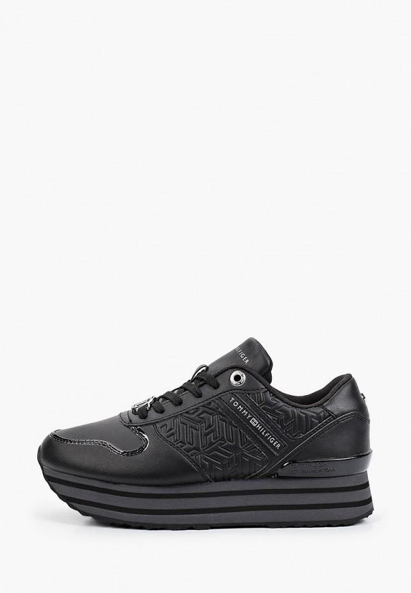 женские низкие кроссовки tommy hilfiger, черные