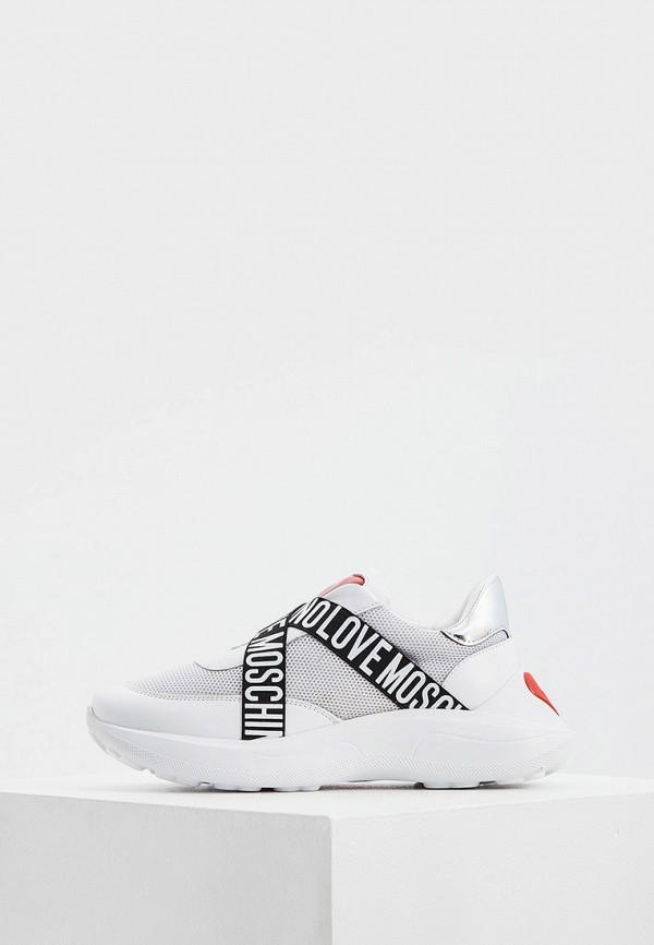 женские низкие кроссовки love moschino, белые