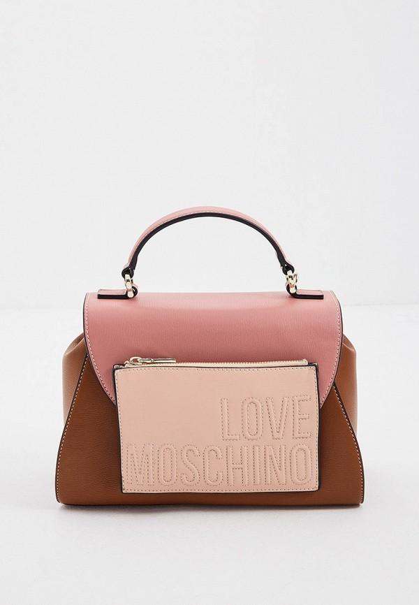женская сумка с ручками love moschino, коричневая