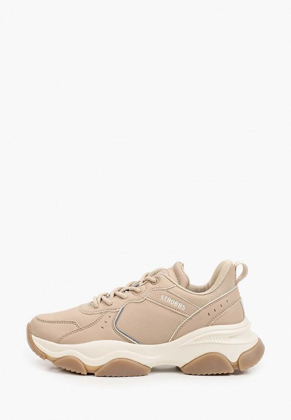 женские низкие кроссовки strobbs, коричневые