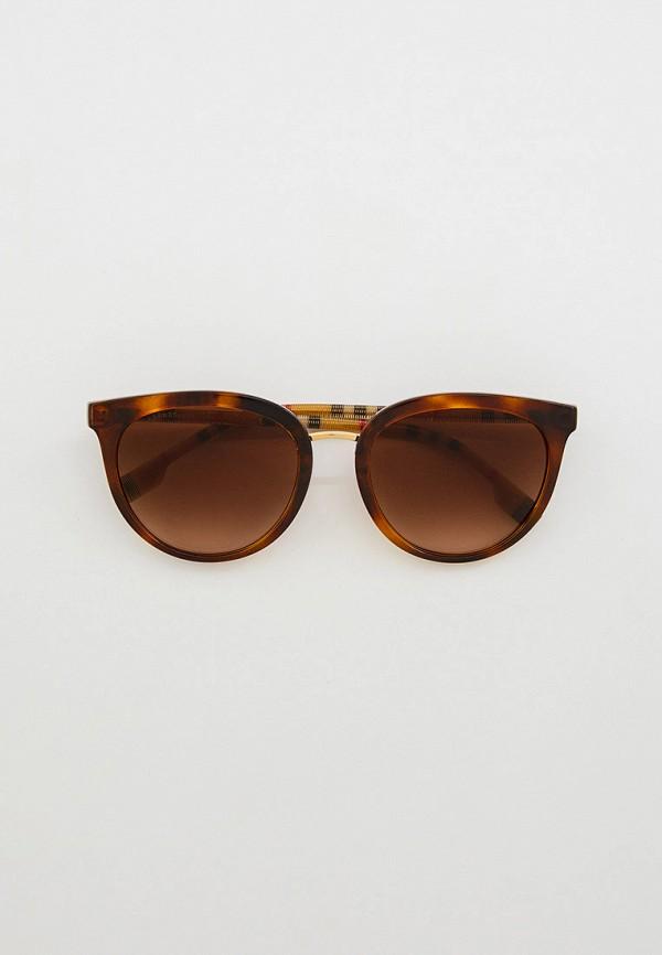 женские круглые солнцезащитные очки burberry, коричневые