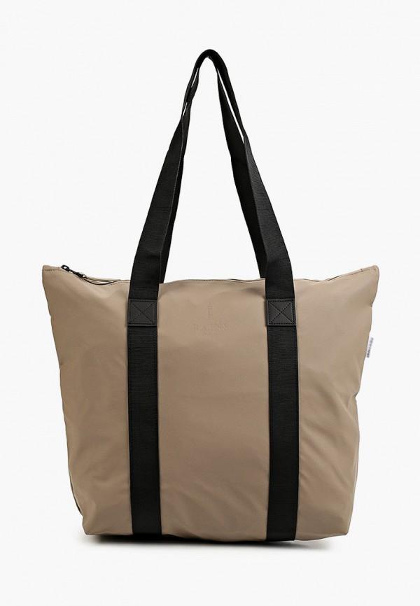 женская сумка с ручками rains, хаки