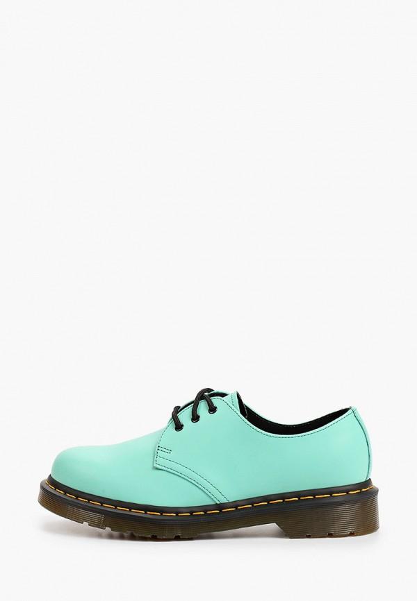 женские низкие ботинки dr. martens, бирюзовые