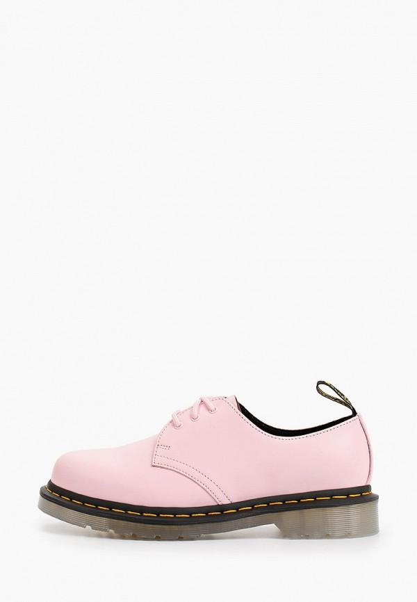 женские низкие ботинки dr. martens, розовые