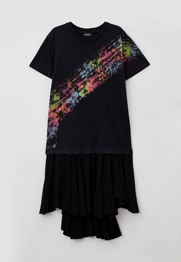 повседневные платье diesel для девочки, черное