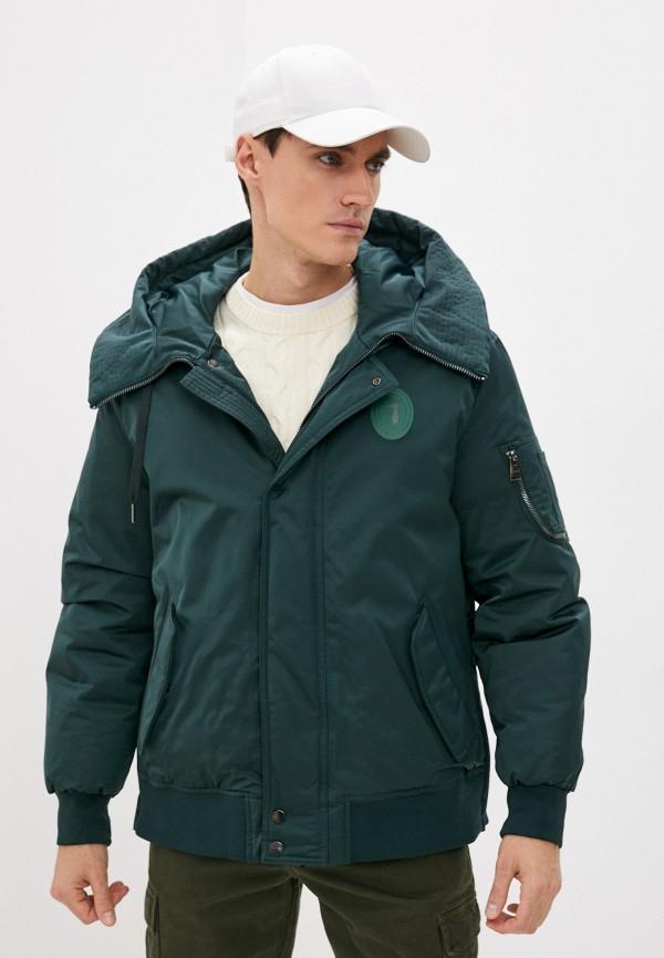 мужская утепленные куртка trussardi, зеленая