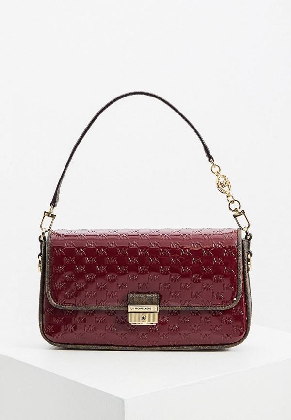 женская сумка с ручками michael kors, бордовая