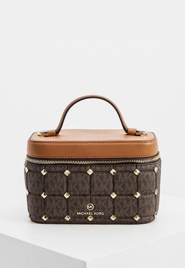 женская сумка с ручками michael kors, коричневая