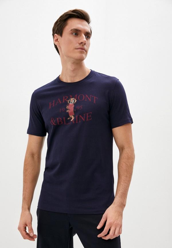 мужская футболка с коротким рукавом harmont & blaine, синяя