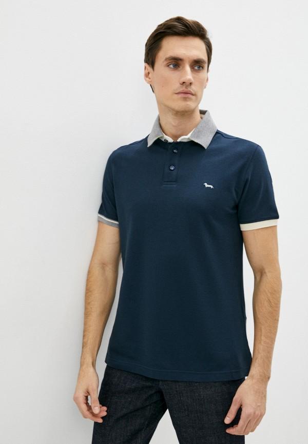 мужское поло с коротким рукавом harmont & blaine, синее