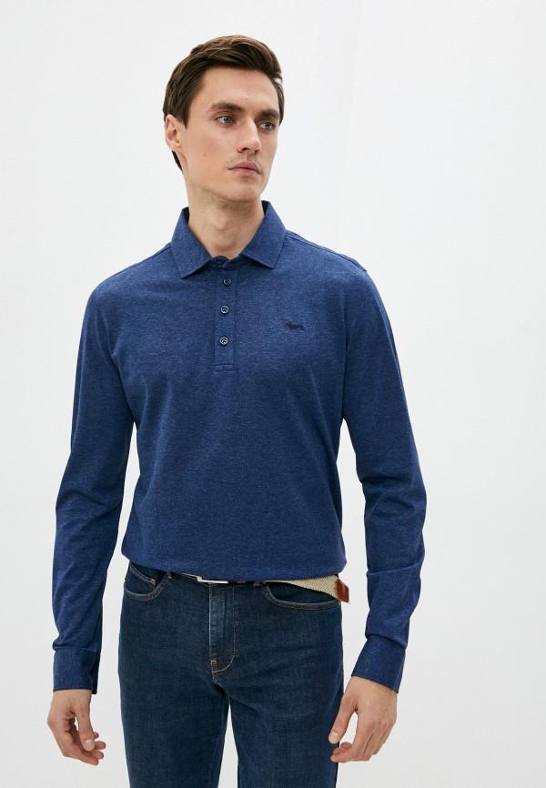 мужское поло с длинным рукавом harmont & blaine, синее