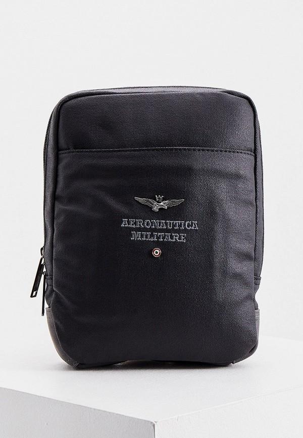 мужская сумка через плечо aeronautica militare, черная