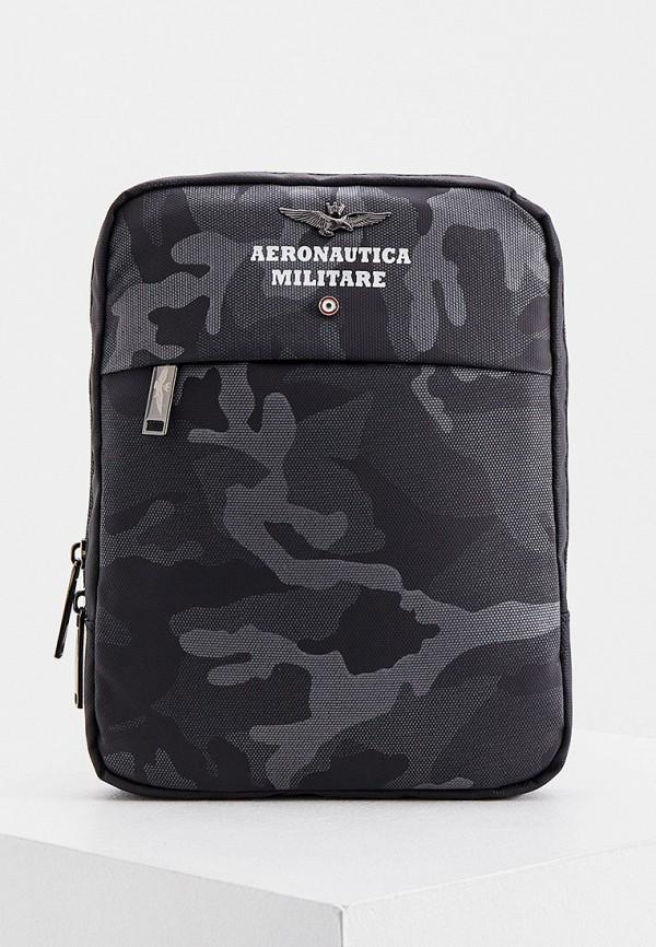 мужская сумка через плечо aeronautica militare, серая