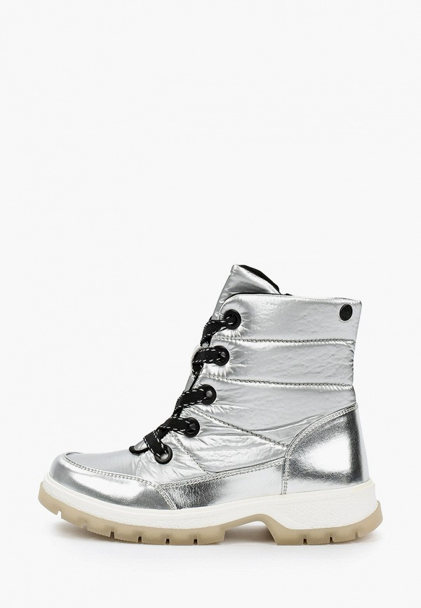женские высокие ботинки caprice, серебряные