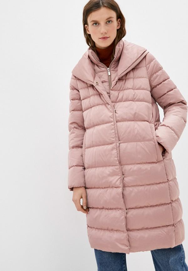 женский пуховик geox, розовый