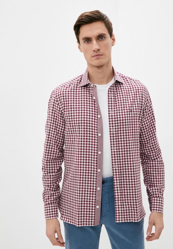 мужская рубашка с длинным рукавом hackett london, бордовая