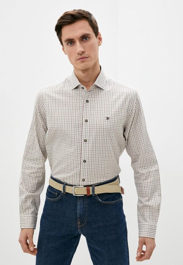 мужская рубашка с длинным рукавом hackett london, бежевая