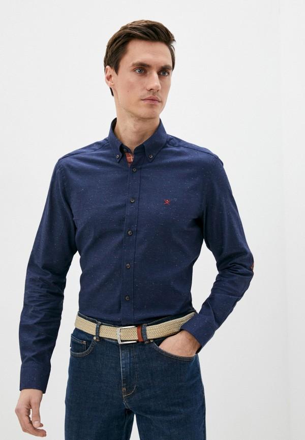 мужская рубашка с длинным рукавом hackett london, синяя