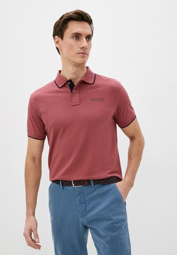 мужское поло с коротким рукавом hackett london, розовое