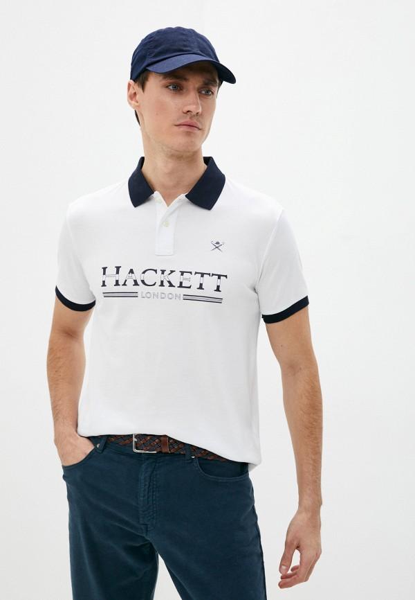 мужское поло с коротким рукавом hackett london, белое