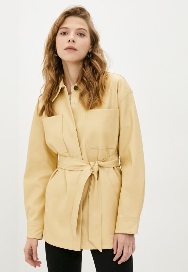 женская рубашка с длинным рукавом topshop, желтая