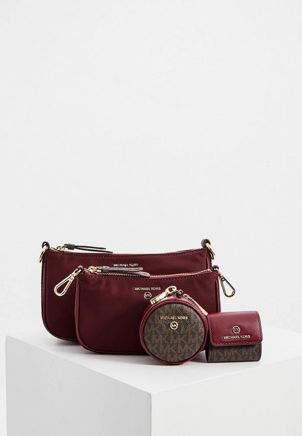 женская сумка через плечо michael kors, бордовая