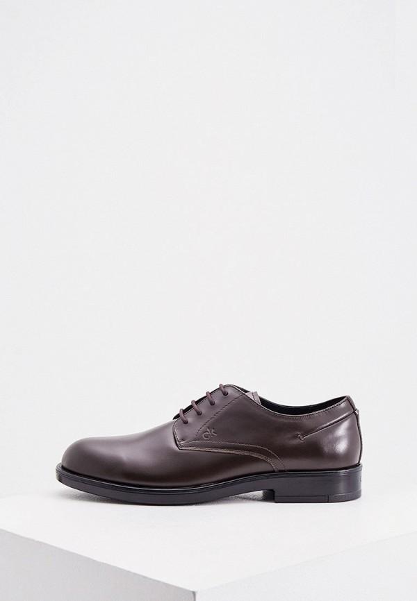 мужские туфли-дерби calvin klein, коричневые