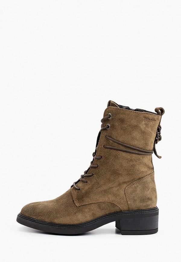женские высокие ботинки tamaris, хаки