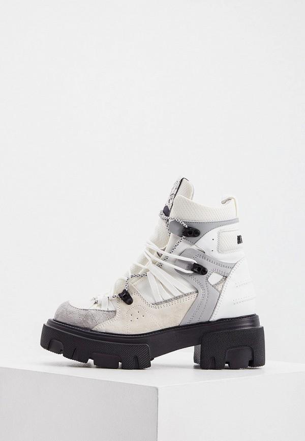 женские высокие ботинки msgm, белые