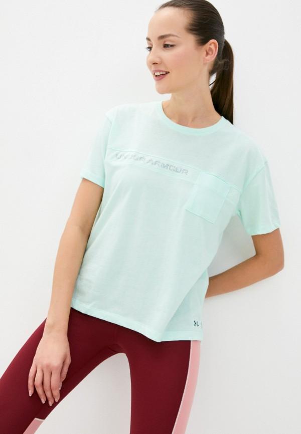 женская спортивные футболка under armour, бирюзовая