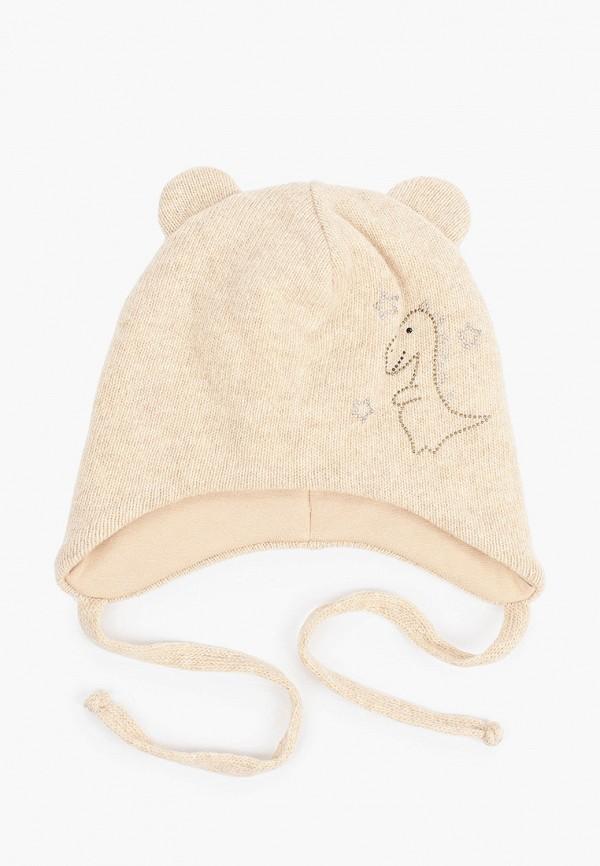 шапка котофей для девочки, бежевая