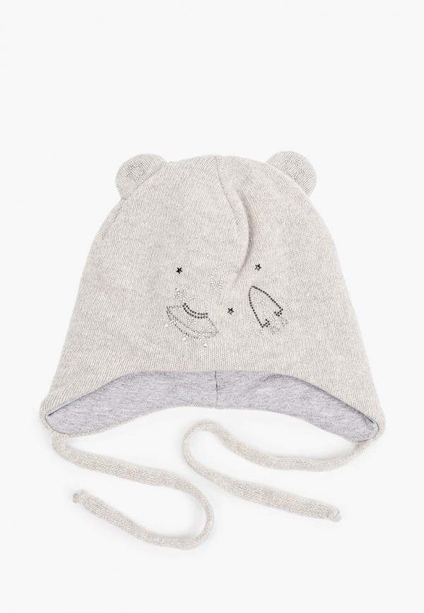 шапка котофей для девочки, серая