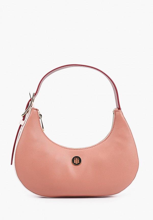 женская сумка с ручками tommy hilfiger, розовая