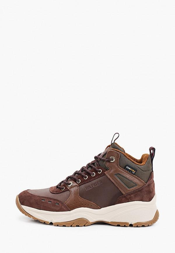 мужские высокие кроссовки tommy hilfiger, коричневые