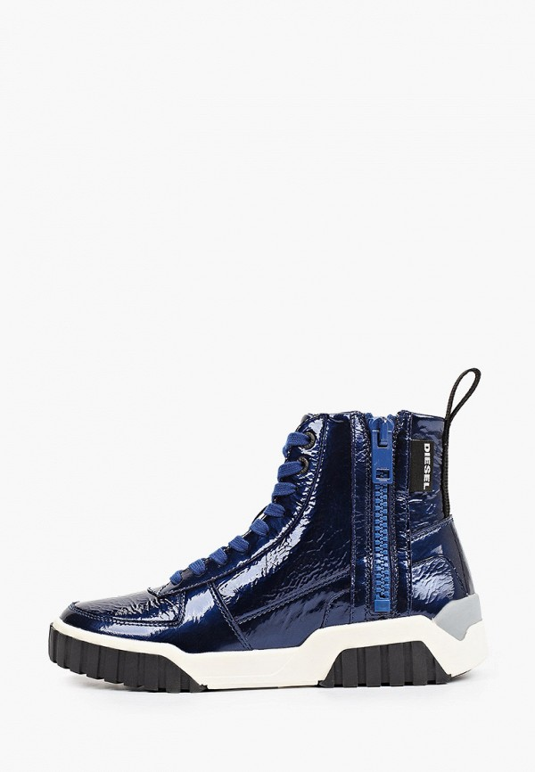 женские высокие ботинки diesel, синие