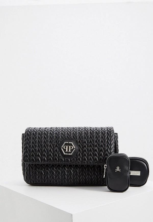 женская сумка через плечо philipp plein, черная