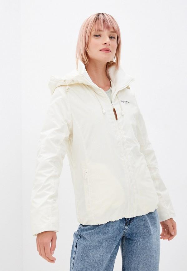 женская легкие куртка pepe jeans london, бежевая