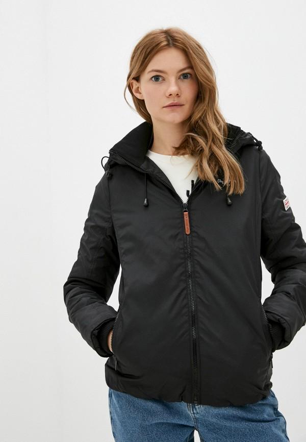 женская утепленные куртка pepe jeans london, черная