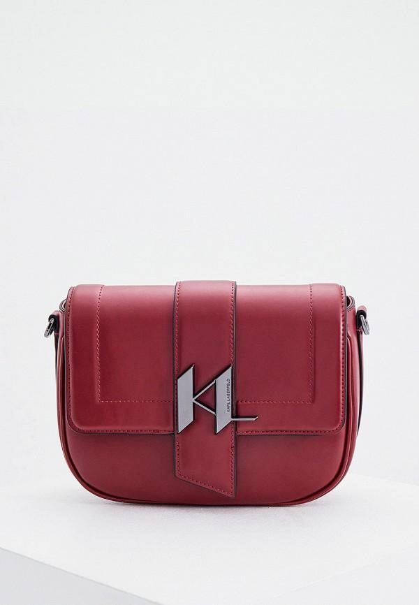 женская сумка через плечо karl lagerfeld, бордовая