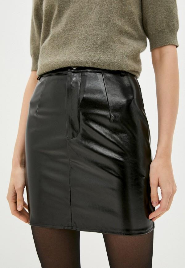 женская кожаные юбка missguided, черная