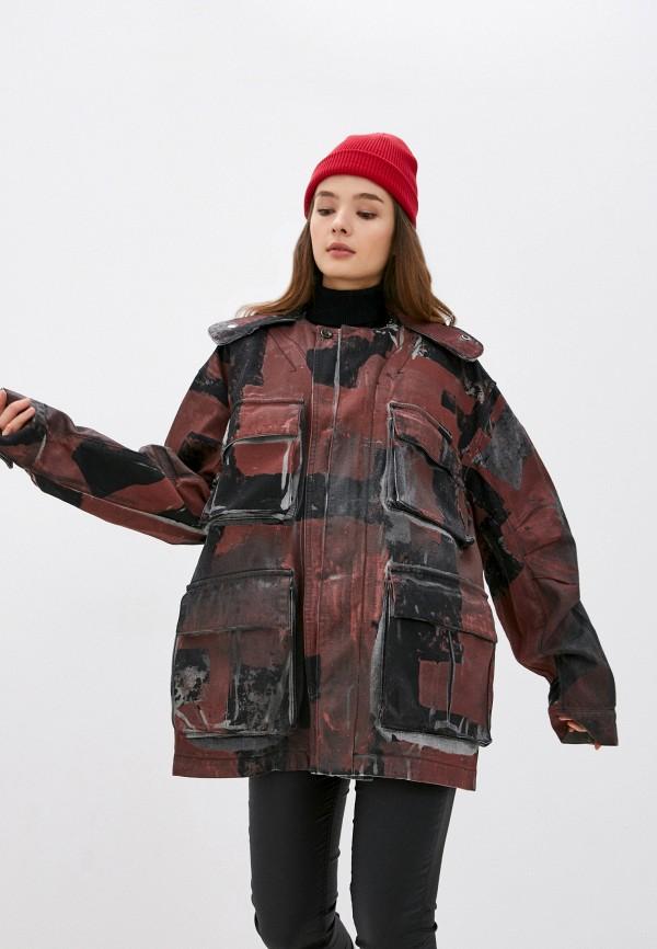 женская джинсовые куртка diesel, бордовая