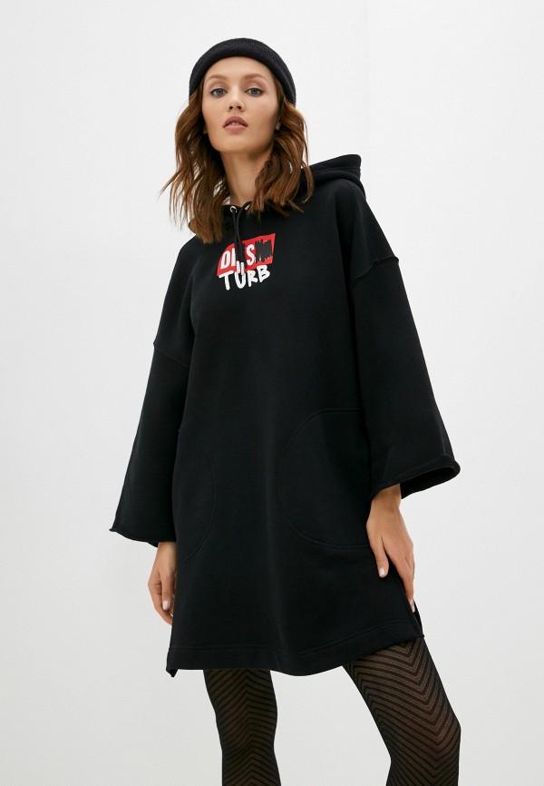 женское платье-толстовки diesel, черное
