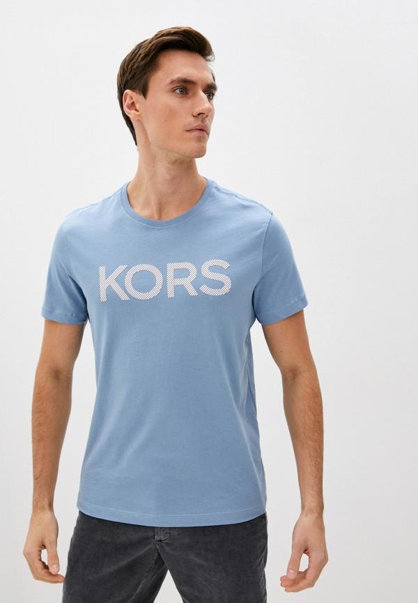 мужская футболка с коротким рукавом michael kors, голубая