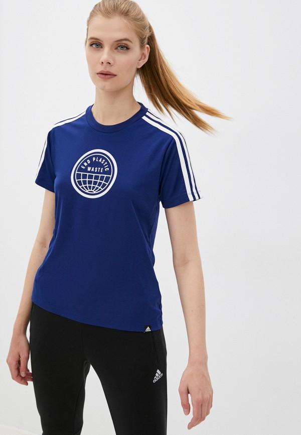 Футболка спортивная adidas синего цвета