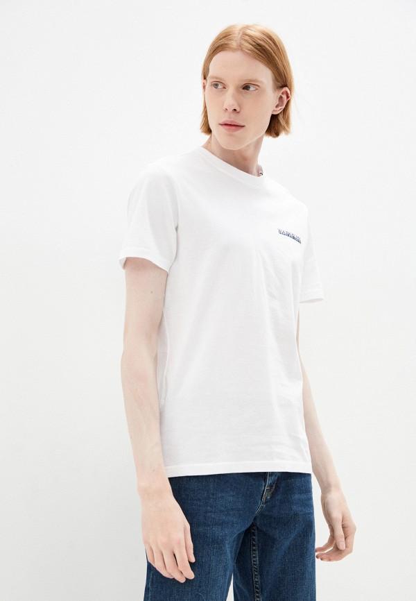 мужская футболка с коротким рукавом napapijri, белая