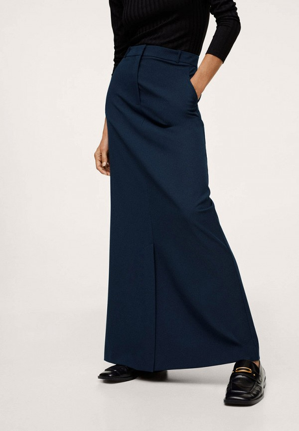 женская юбка-трапеции mango, синяя