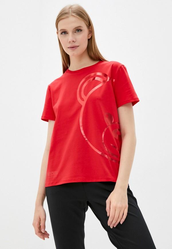женская футболка moschino underwear, красная