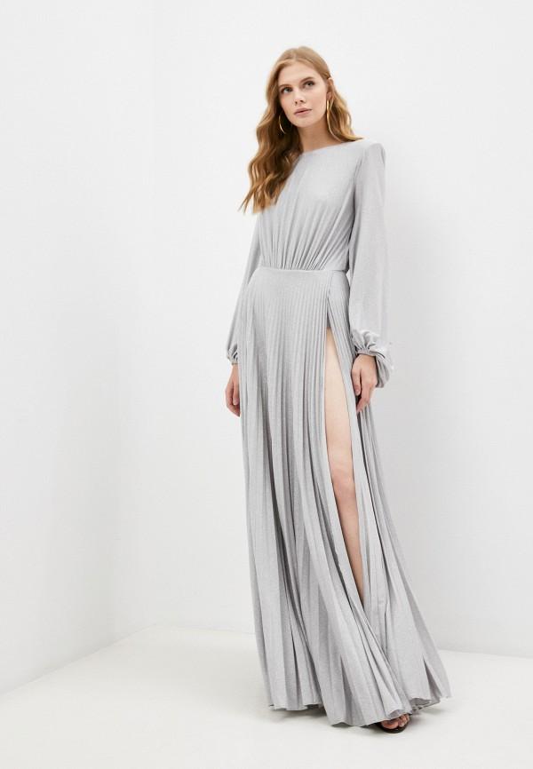 женское вечерние платье elisabetta franchi, серебряное